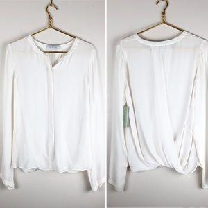 A.L.C. White Silk Button Down Blouse Open Back